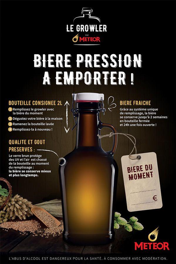 L'affiche PLV pour le système de Growler de la brasserie  Météor #biere  #gastronomie #bieredalsace