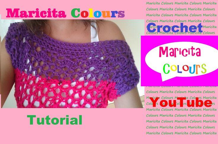 """Crochet Bella Blusa """"Trifina"""" Fácil de tejer Cuello Ojal (Parte 1) por M..."""