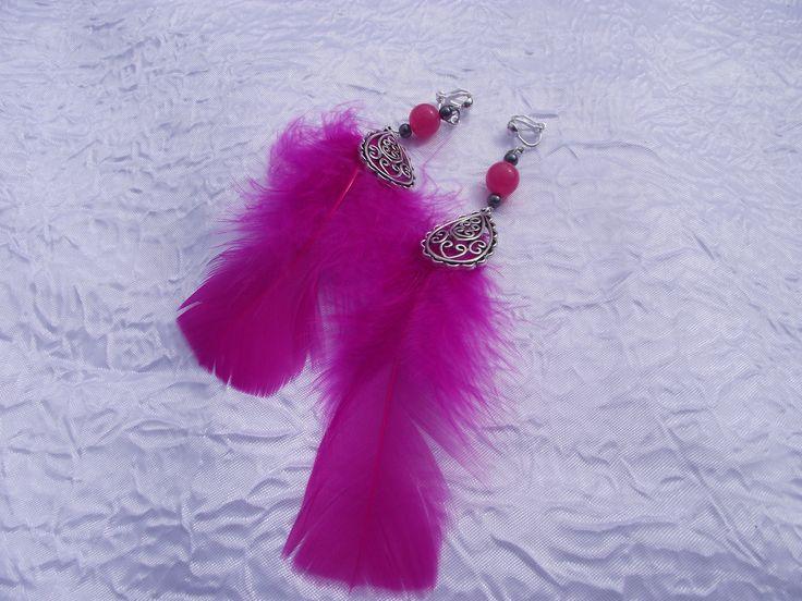 "BO clips plume, BO clip perle fuchsia ""Douceur cabaret"" : Boucles d'oreille par perles-in-the-sky"