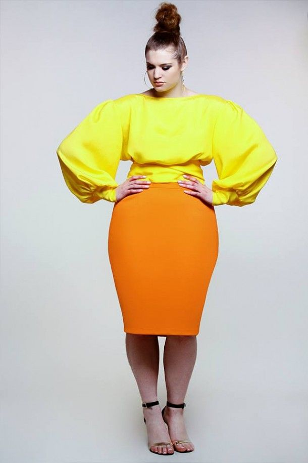 Colorblock Plussize Yellow Orange Plus Size Designerscrop