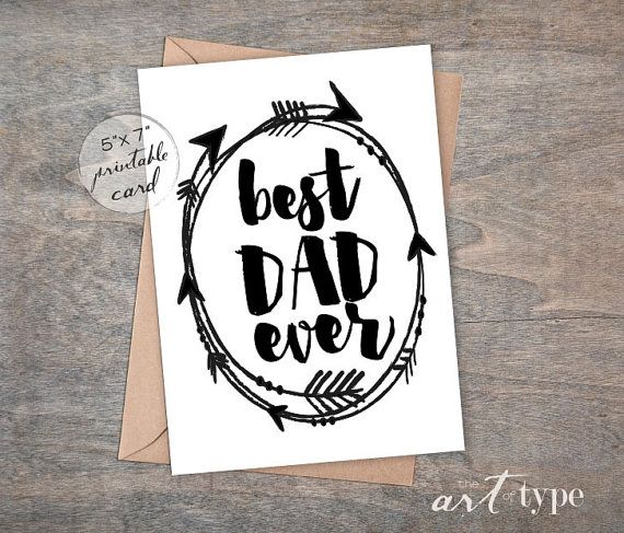 Best Dad Ever, Father's Day Card INSTANT DOWNLOAD 5x7 Printable Card, Birthday Card for Dad, Arrows, Dad Greeting Card, Father Card, DIY from ETSY