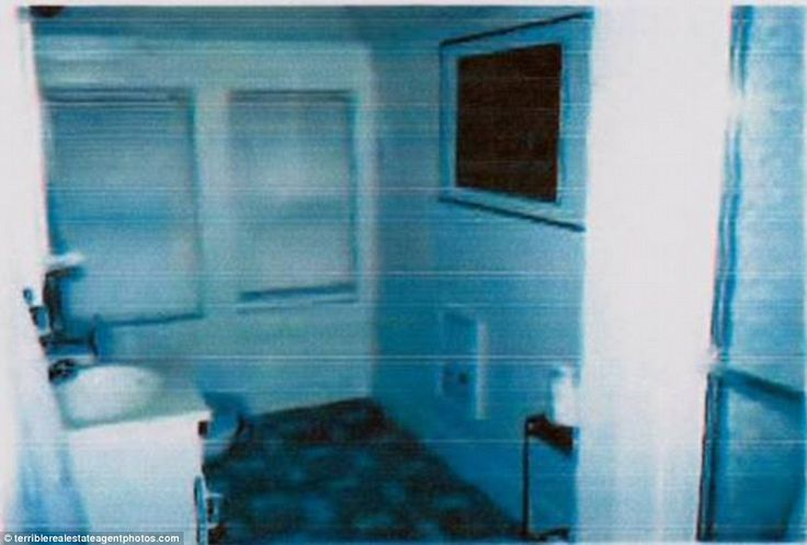 Chilling: In what could easily be a scene from a horror film, this bathroom almost appears ghostly, pictured in a strange blurry, blue light