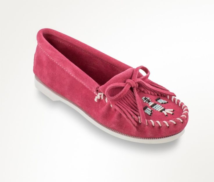 Minnetonka x A Beautiful Mess Limited Edition Thunderbird Moc in Hot Pink