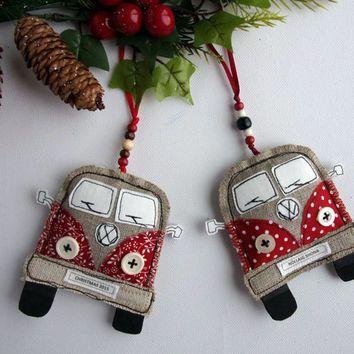 VW Van Christmas Decorations. Fabric Christmas Ornaments. Volkswagen Bus. Handmade Hippie Camper Van Ornaments. Personalized. Hippy Kombi