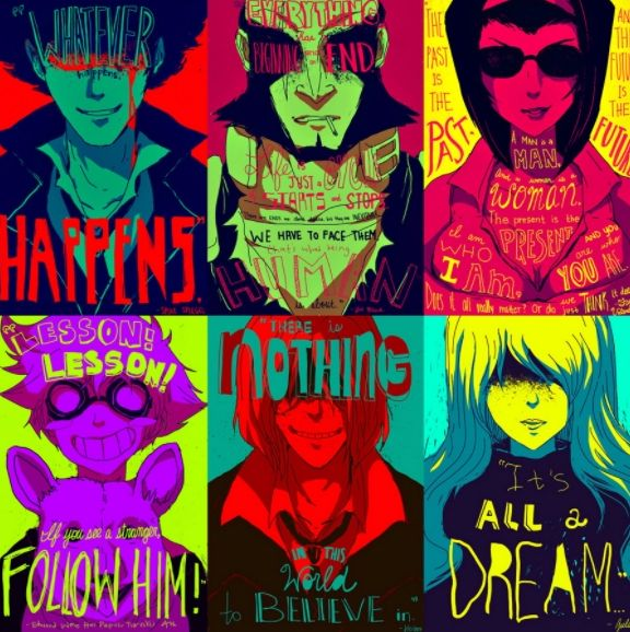 Ce poster Cowboy Bebop tout en couleur ravira les fans de la série de science fiction créé par le cinéphile Shin'ichirō Watanabe en 1998.
