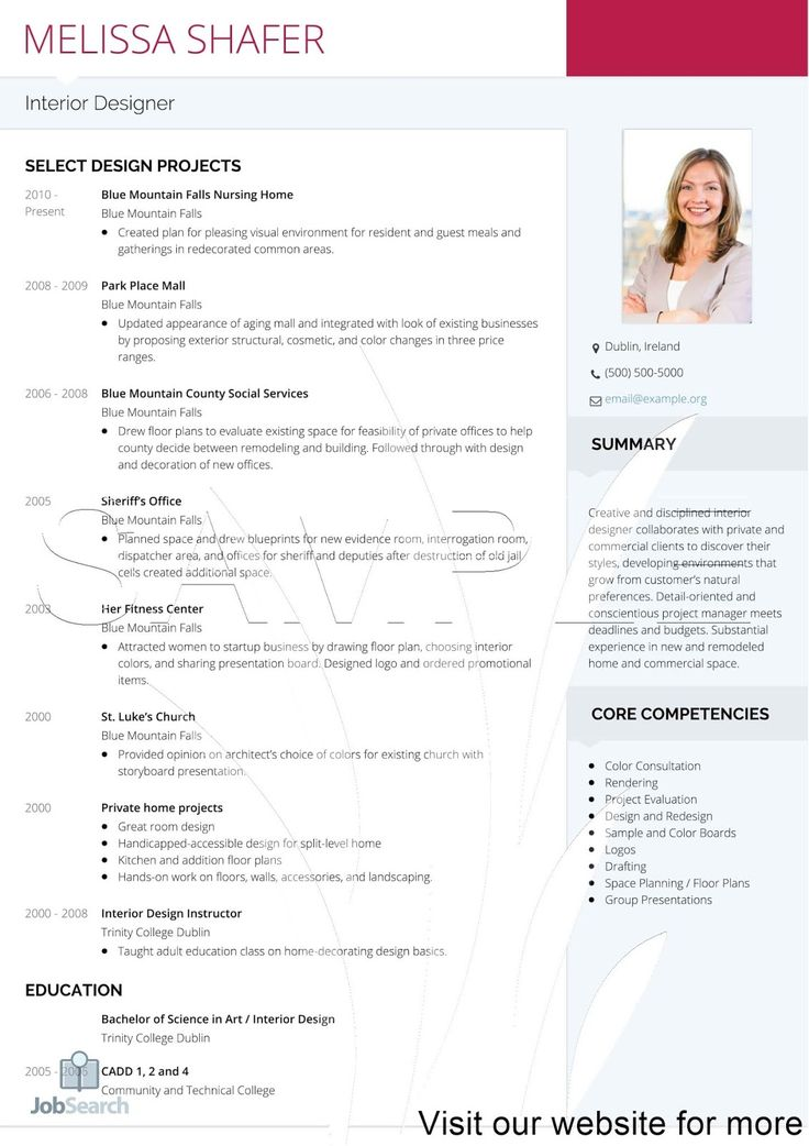 Interior Design Resume Samples 2020 USA & Australia