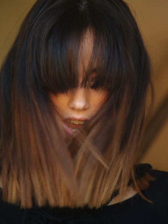 Hair style, ombre haircolor, long Bob, bangs, Iveen  marte, model, Ristonguita productions, fashion workbook, backstage