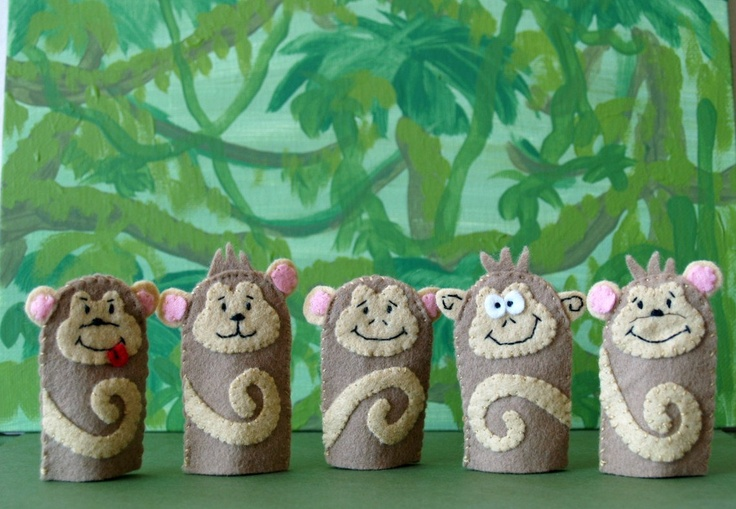 Five Little Monkeys Finger Puppets. $35.00, via Etsy.