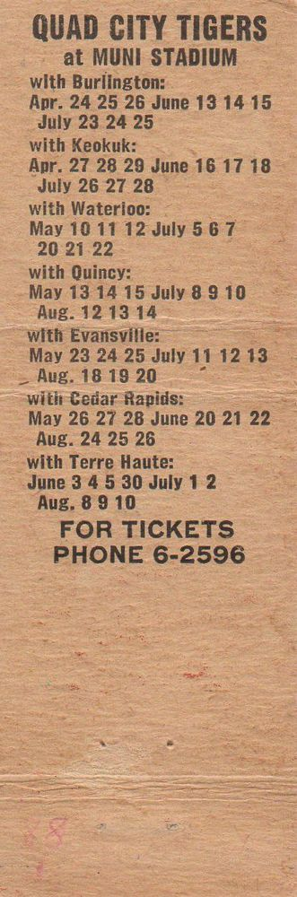 quad city #Tigers #Baseball schedule matchbook martin co davenport iowa from $4.99