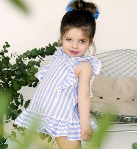-NUEVO- Vestido niña a rayas volantes de Foque  | Aiana Larocca