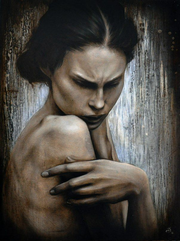 """Caroline"" board, oil & acrylic colour, 30×40 cm 2014"