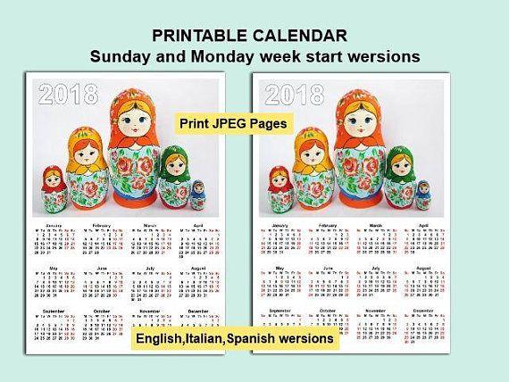 2018 Calendar Matryoshka Nesting Doll Printable Digital