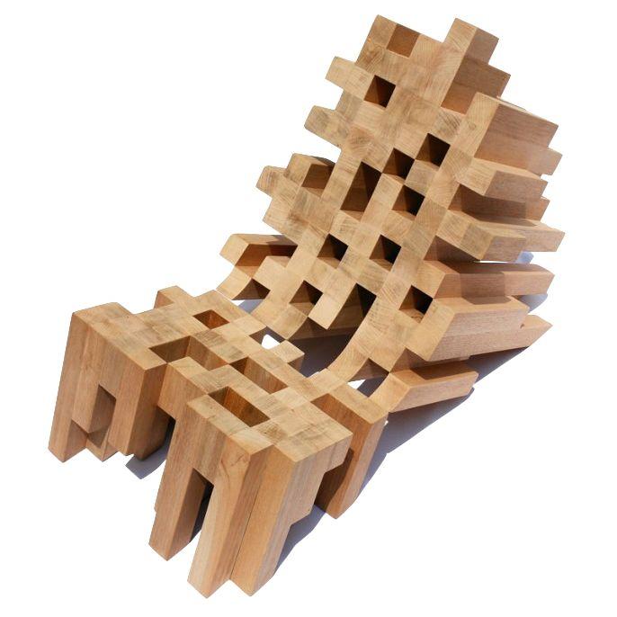 Butake Chair A Pixellated Wood Lounge Chair By Raúl Téllez Herrera