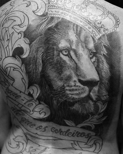 1c63e3b9d 50 Lion Back Tattoo Designs For Men - Masculine Big Cat Ink Ideas ...