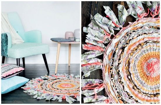 Cheerful DIY rug made from recycled fabrics, yarn and old clothes | Handmade rug | via Passion shake