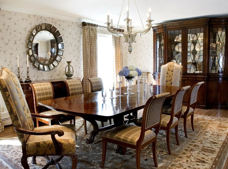 Hand Knotted Oriental Rug Selected To Appropriately Complement The Fabrics A Traditional Dining Room