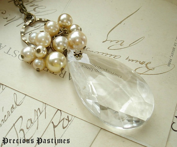 champagne bubbles chandelier crystal necklace by