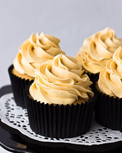 Vanilla Bean Kahlua Cupcakes with Kahlua Italian Meringue Buttercream