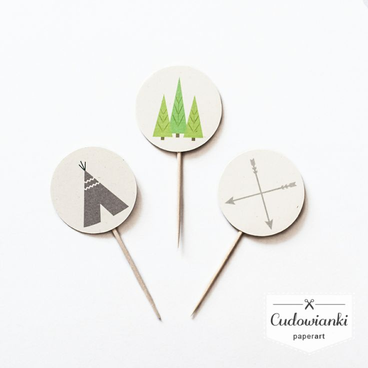Tipi, arrows and forest - perfect cupcake toppers for tribal birthday party! By Cudowianki.