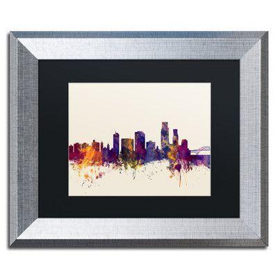 """Trademark Art """"Corpus Christie Skyline"""" by Michael Tompsett Framed Graphic Art Size: 1"""