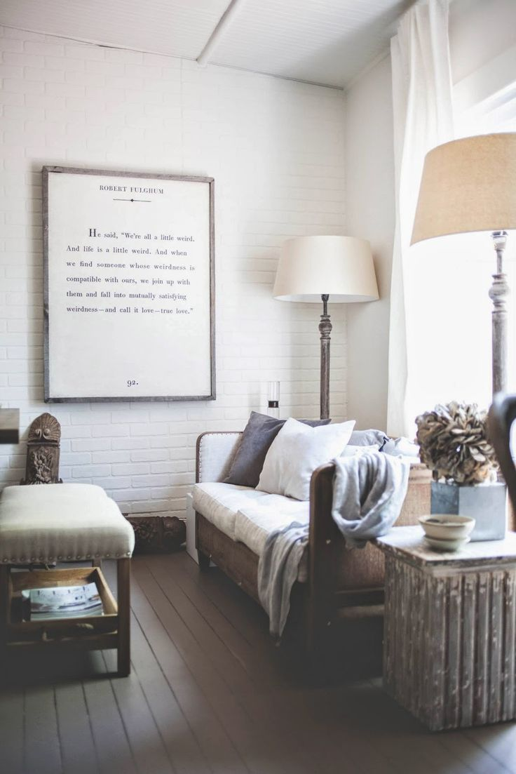 enlarged framed book page (or extended excerpt), use of floor lamps behind couch which frees the surface of small end tables. The New Victorian Ruralist: FABLE + FLAME
