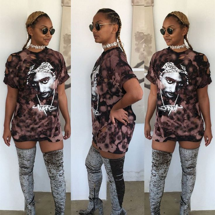 Womens Loose T-Shirt Top Blouse Club Party Skirt Retro Tupac Head Printing Holes