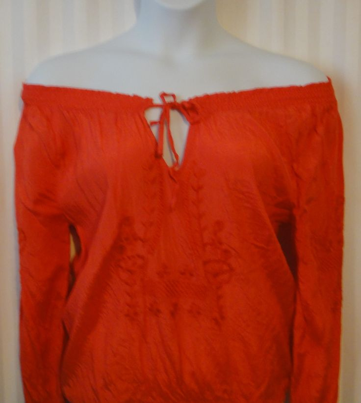 Boho Peasant Blouse off the shoulder tie up blouse available now at ChicCentSations eBay Store.
