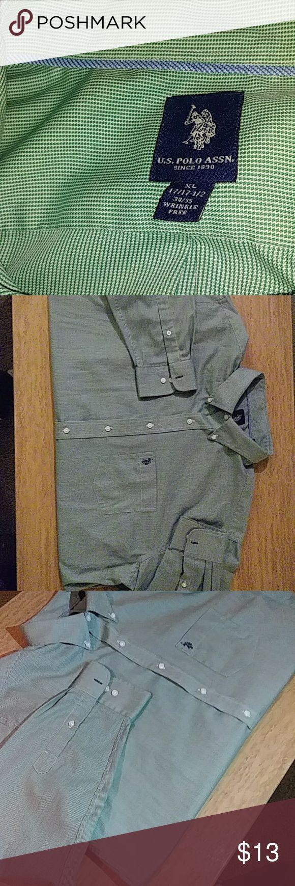 Us polo dress shirt Green checker design dress shirt U.S. Polo Assn. Shirts Dress Shirts