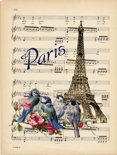 "Art Print - Birds In Paris - 8 1/2"" x 11"" Music Page - Art Print on Upcycled…"
