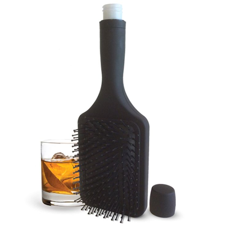 """Hide your booze in this Hair Brush Flask! You'll be able to smuggle in your favorite drinks wherever you go!* Dimensions: 10.25"""" H x 3.50"""" W x 2"""" D* Capacity: 6 oz* Material: Plastic* Fully functional hair brush* Closure: Screw top* Care: Hand wash only* Imported* Arrives in a box"""