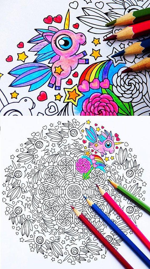 Unicorn Frolic Mandala Coloring Page For Adults And Big