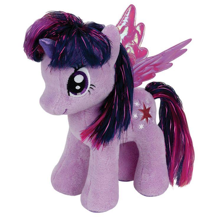 Beleef de leukste avonturen met Ty Beanie Buddy pluchen knuffel genaamd Twilight Sparkle. Deze lila little pony heeft waanzinnig stoere paars/roze manen met een glinstering erin. Ze heeft een glimmende hoorn en de mooiste metallic vleugels. Door haar zachte vachtje is het heerlijk om met deze pony te knuffelen en dankzij de vulling onderin blijft de Ty Beanie little pony ook los gemakkelijk rechtop staan. Afmeting: lengte 28 cm - Ty Beanie Buddy My Little Pony Knuffel - Twilight Sparkle