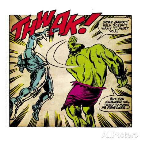 Marvel Comics Retro: The Incredible Hulk Comic Panel, Fighting, Thwak! (aged) Posters - AllPosters.ca