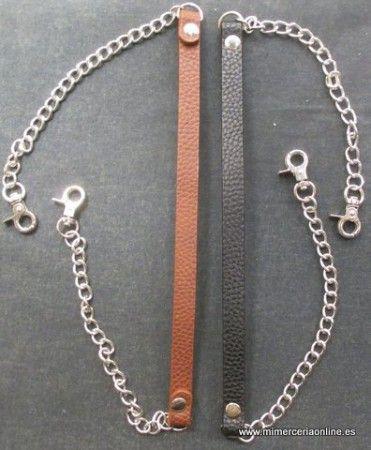 Asas para bolsos, tipo piel más cadena y mosquetónes en color plata, 60cm ( ubicado en cajón 31-AB)