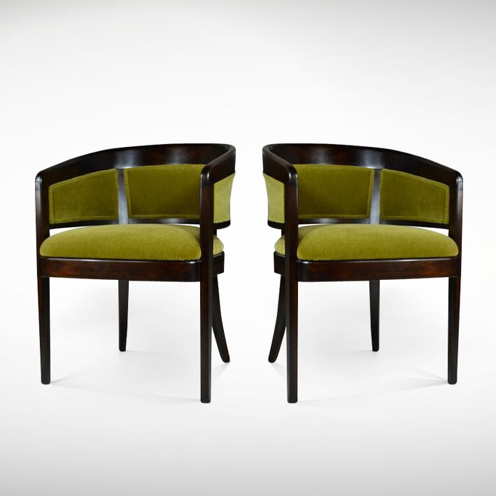 Pair of Edward Wormley Chartreuse Mohair Chairs