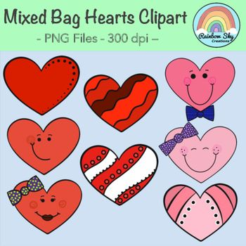 Mixed bag of hearts graphics! 16 included All of the 8 black line originals as shown in the cover page are included. All graphics are PNG files at 300 dpi for clear, crisp printing with transparent backgrounds. Personal and Commercial Use ~ Rainbow Sky Creations
