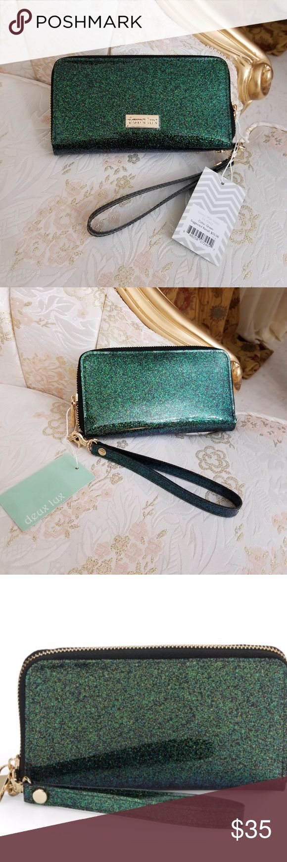 """Deux Lux Green Glossy Glitter Wallet/Wristlet New Without Tags 100% Authentic, Guaranteed!! Deux Lux Green Glossy Glitter Zip-Around Women's Wallet With Removable wristlet strap, 5"""" drop. Polka dot lining, six credit card slots, two inside open pockets, top zip closure. Size: 7""""W x 4.5""""H x 0.75""""D Deux Lux Bags Wallets"""