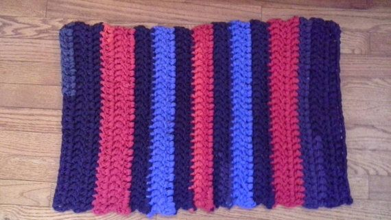 Hey, I found this really awesome Etsy listing at https://www.etsy.com/listing/223596378/rag-rug-upcycled-t-shirts-red-blue-and
