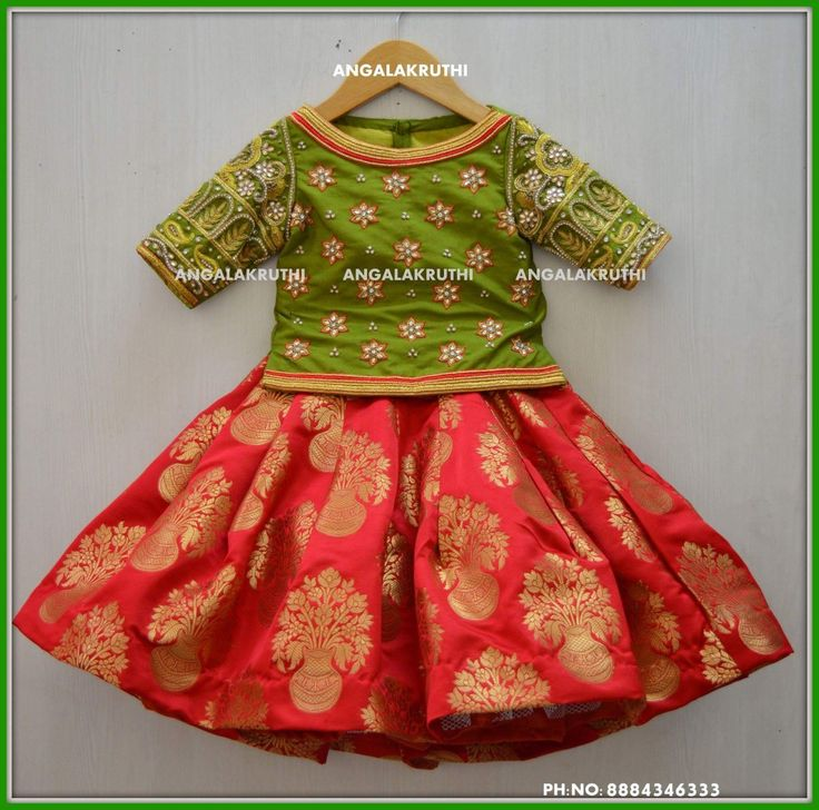 Kids lehenga with Rich hand embroidery designs by Angalakruthi boutique Bangalore Watsapp:8884346333