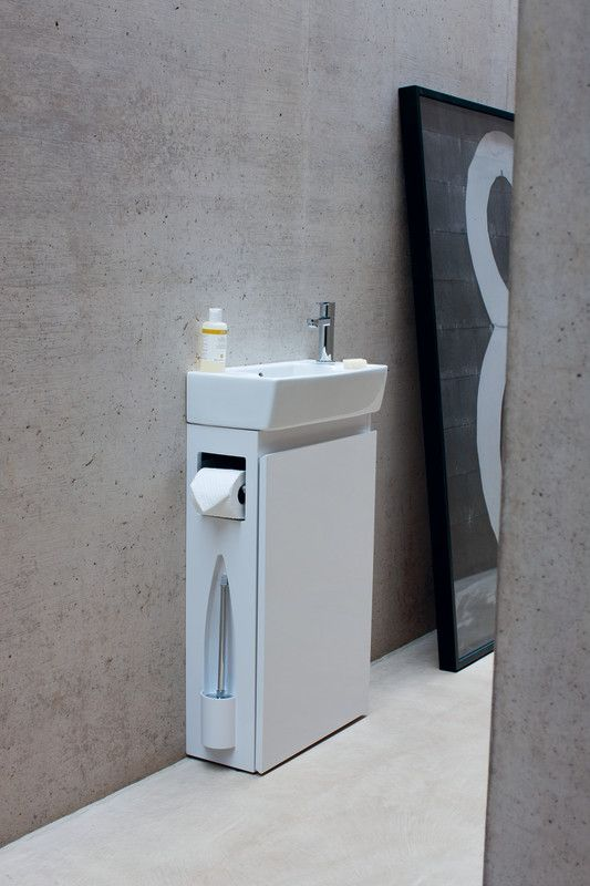 If your bathroom is 'bijou' or your cloakroom is 'cramped' then this extra slimline, super space saving basin unit is just perfect. Coming in 4 easy clean high gloss colours (black, white, putty green & mid blue) with concealed toilet paper and brush proves a must have in contemporary living. Visit www.coastline-interiors.co.uk
