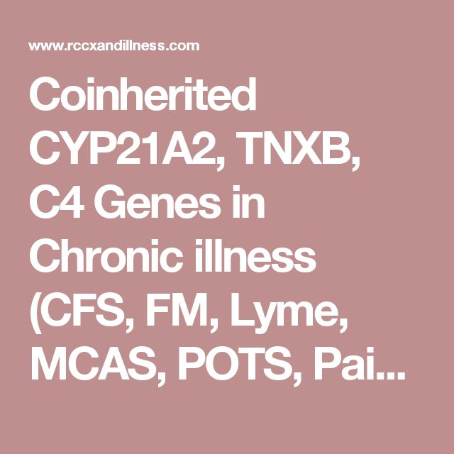 Coinherited CYP21A2, TNXB, C4 Genes in Chronic illness (CFS, FM, Lyme, MCAS, POTS, Pain, Psychiatric Spectrum, Immunological, Endocrine) +- Hypermobility +- Autoimmune Diseases - Home