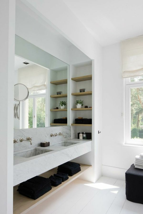 badezimmer wand regale design offen holz