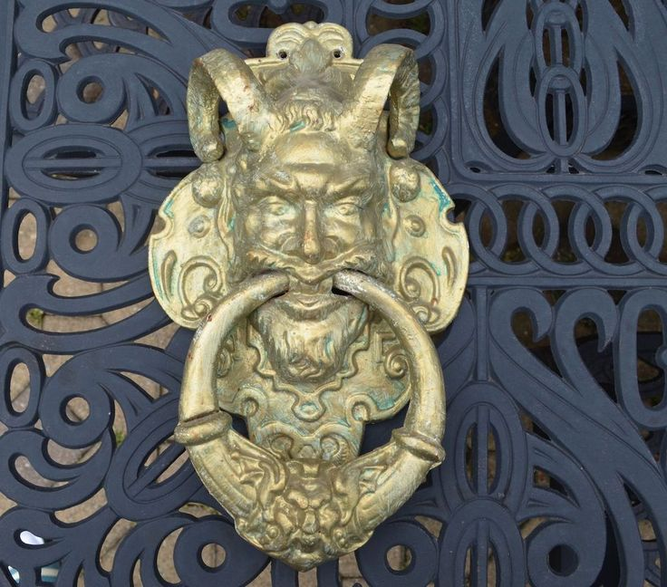Vintage large ornate cast iron gothic devil with horns door knocker witches devils vampires - Gothic door knockers ...