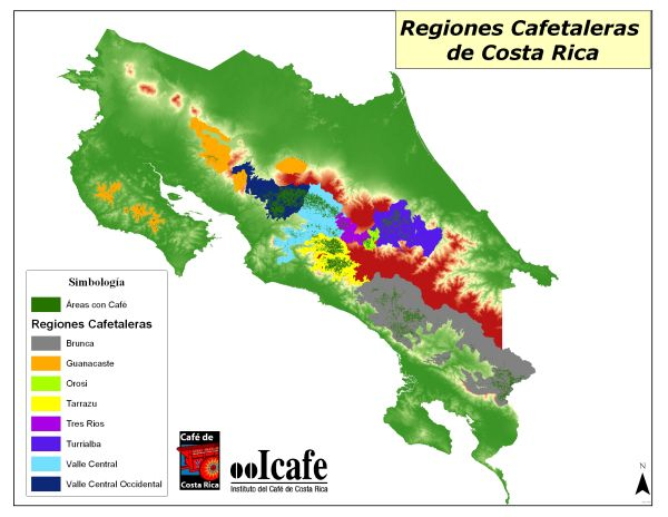 This map shows the coffee producing regions of Costa Rica. Mountains regions…