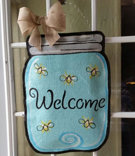 Mason jar burlap door hanger, Spring or summer welcome sign, or wreath Great Mothers day gift!