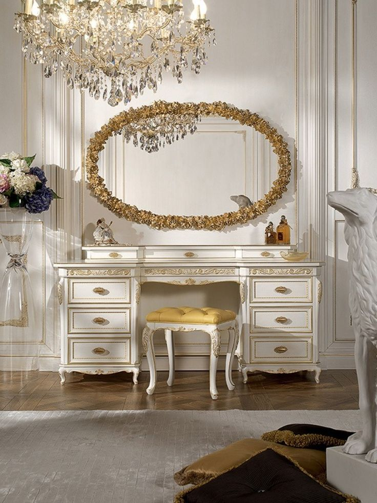 Bathroom Exceptional Classic Dressing Table Design Ideas With Wooden  Materials In White And Gold Combination Color Featuring Drawers Storage And  Oval Best ...