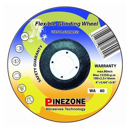 http://www.pinezoneabrasive.com/flexible-grinding-disc-for-stainless-steel.html  Wheel size choices directly affect the surface roughness of the workpiece and the grinding efficiency. Generally, coarse-grained grinding wheel with high grinding efficiency, but poor surface roughness