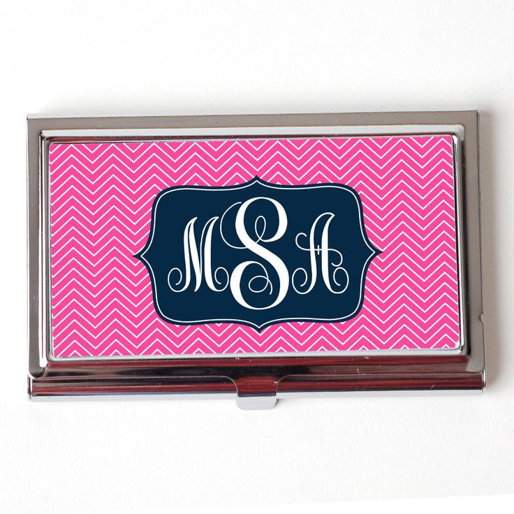 Monogram Business Card Holder - Personalized Business Card Holder - Pink & Navy Blue Chevron Monogram Business Card Holder