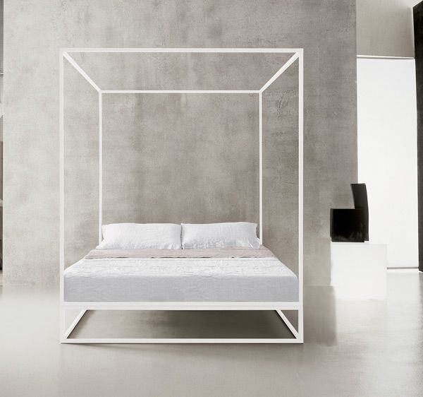 Bed with painted tubular steel frame and canopy