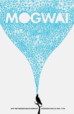 A gig poster for 'Mogwai' and 'The Twilight Sad'.  Really cool pattern; almost looks textured.
